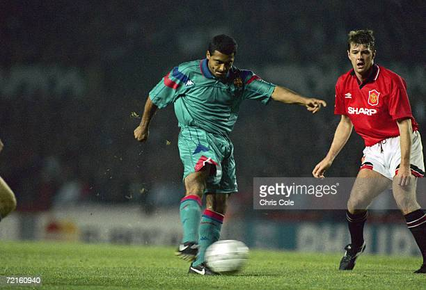 Brazilian striker Rom?rio de Souza Faria, known as Romario, playing for Spanish club FC Barcelona in a Champions League group stage match against...