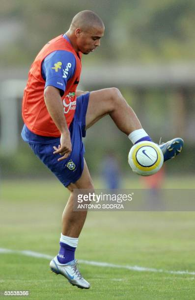 Brazilian striker Ronaldo Nazario controlls the ball during the training session 30 August 2005 in Teresopolis 150Km north of Rio de Janeiro Brazil...