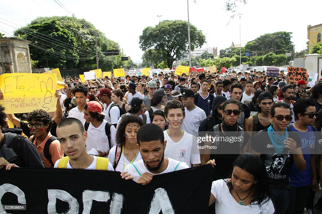Brazilian students make protest in the city of Sao Paulo for improvements in education and against the Mafia school meals. April 20, 2016
