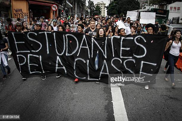 Brazilian students protest against embezzlement of school meals and against the closure of classrooms in state Ecolas the state of So Paulo on March...