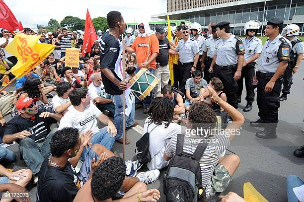 Brazilian students protest against Federal District governor Jose Roberto Arruda as part of the International Day Against Corruption activities in...