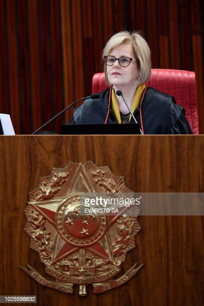Brazilian Superior Electoral Court's President Judge Rosa Weber is pictured during the court trial on the eligibility of imprisoned former president...