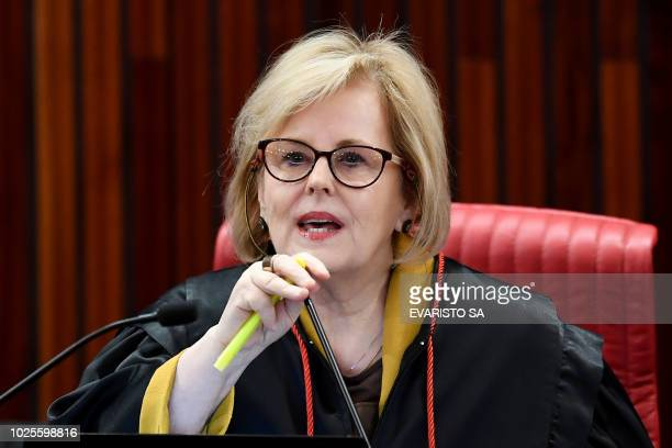 Brazilian Superior Electoral Court's President Judge Rosa Weber speaks during the court trial on the eligibility of imprisoned former president Luiz...
