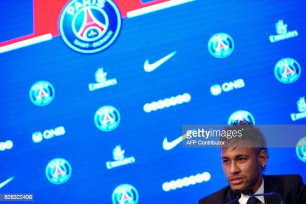 TOPSHOT Brazilian superstar Neymar speaks during a press conference at the Parc des Princes stadium on August 4 2017 in Paris after agreeing a...