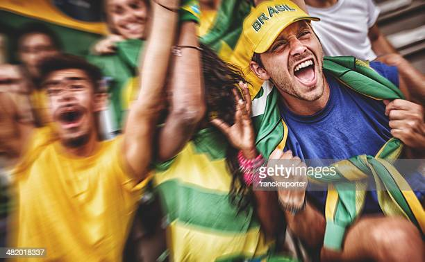 brazilian supporters at stadium - fan enthusiast stock pictures, royalty-free photos & images
