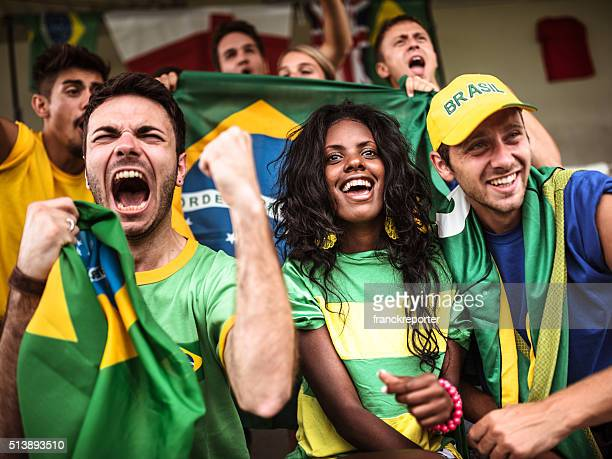 brazilian supporters cheering at stadium - fan enthusiast stock pictures, royalty-free photos & images
