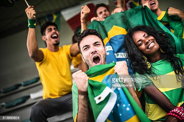Brazilian supporters cheering at stadium