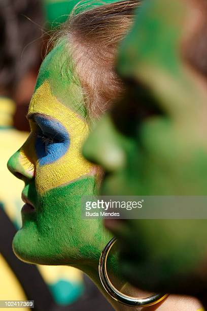 Brazilian supporters gather to watch the National soccer team's 2010 FIFA World Cup South Africa match against Portugal at the FIFA Fan Fest in...