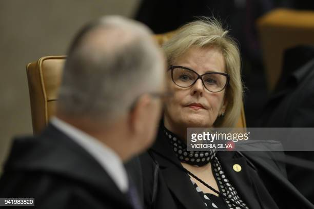 Brazilian Supreme Court judge Rosa Weber attends a session to rule on whether former president Luiz Inacio Lula da Silva should start a 12 year...