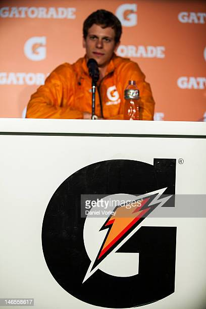 Brazilian swimmer Cesar Cielo speaks at a Press conference organized by Gatorade in Pacaembu Stadium on June 19, 2012 in Sao Paulo, Brazil. Mano...