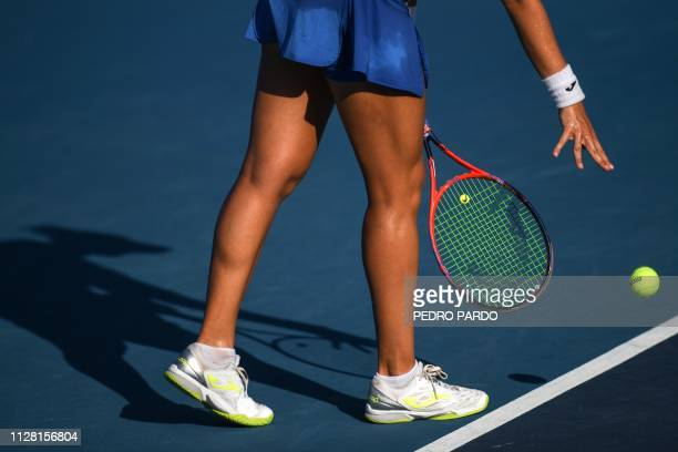 TOPSHOT Brazilian tennis player Beatriz Haddad Maia prepares to serve to Chinese tennis player Yafan Wang during a WTA Mexico Open singles match in...