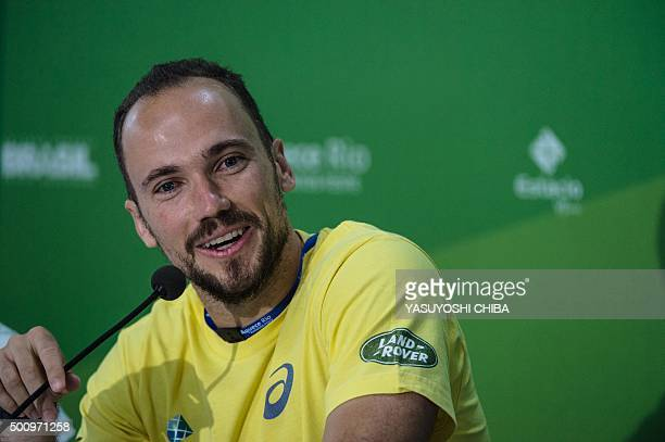 Brazilian tennis player Bruno Soares speaks to the media during the Brazil Master Cup as a test event for the Rio 2016 Olympic games at the Olympic...