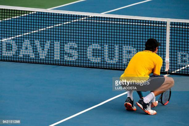 Brazilian tennis player Marcelo Demoliner during their Americas Zone Group I 2nd round Davis Cup tennis doubles match against Colombian tennis...