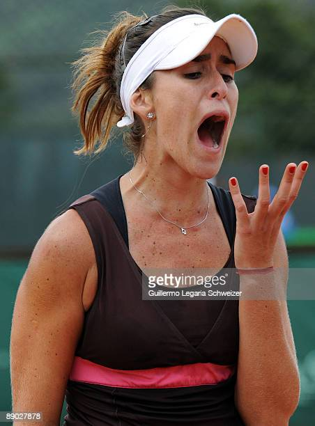 Brazilian tennis player Natalia Guitler gestures during an Open Seguros Bolivar Bogota 2009 match against Maria Fernanda Alvarez of Bolivia on July...