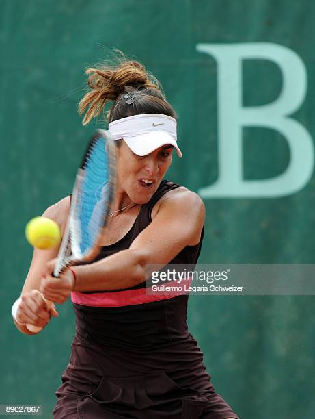 Brazilian tennis player Natalia Guitler in action during an Open Seguros Bolivar Bogota 2009 match against Maria Fernanda Alvarez of Bolivia on July...