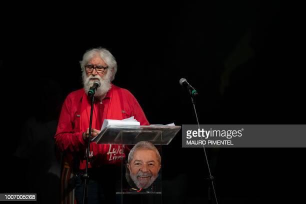 Brazilian theologian and writer Leonardo Boff gives a speech during the Lula Livre Music Festival in Rio de Janeiro Brazil on July 28 2018 Brazilian...