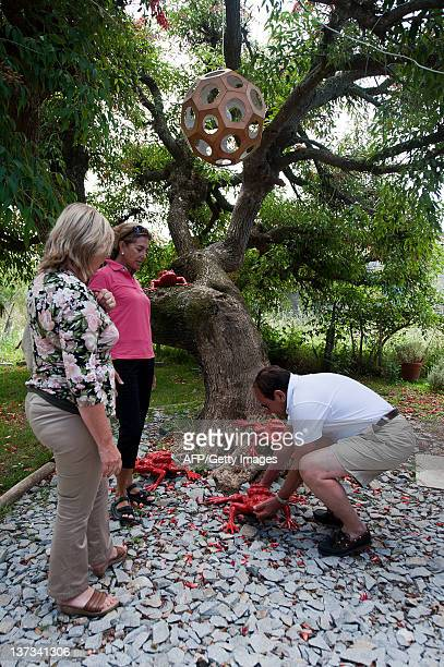 A Brazilian tourist takes one of the scupltures of Belgian artist William Sweetlove exhibited at the Alium art Boutique in Pueblo Garzon 187 Km east...