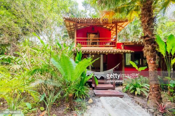 brazilian traditional pousada in forest - trancoso imagens e fotografias de stock
