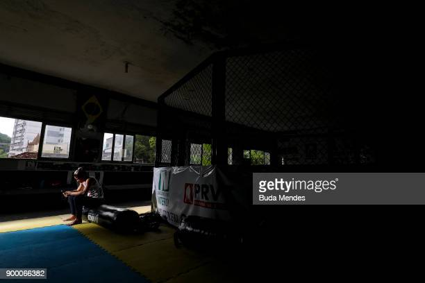 Brazilian UFC flyweight fighter Priscila 'Pedrita' Cachoeira in her morning routine before another day of training at School of Lutas Niteroi on...