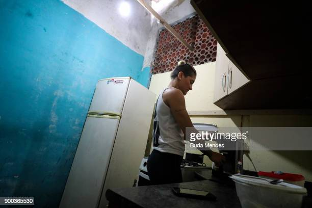 Brazilian UFC flyweight fighter Priscila 'Pedrita' Cachoeira prepare your breakfast before another day of training at School of Lutas Niteroi on...