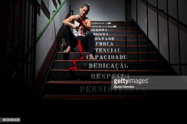 Brazilian UFC flyweight fighter Priscila 'Pedrita' Cachoeira prepares to train at School of Lutas Niteroi on December 29 2017 in Rio de Janeiro...