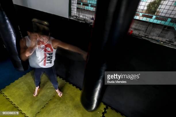 Brazilian UFC flyweight fighter Priscila 'Pedrita' Cachoeira trains at School of Lutas Niteroi on December 29 2017 in Rio de Janeiro Brazil The...
