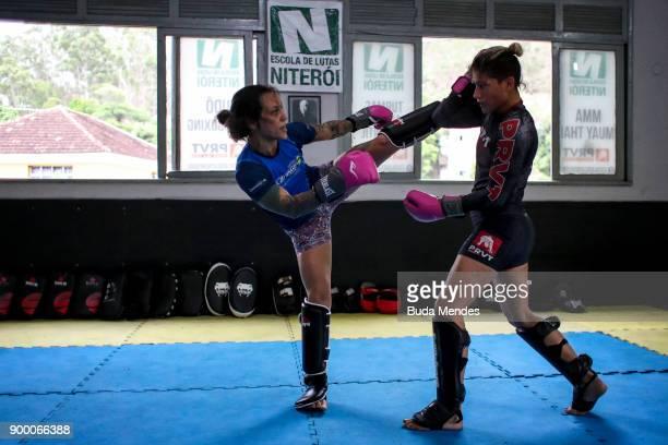 Brazilian UFC flyweight fighter Priscila 'Pedrita' Cachoeira trains hard at School of Lutas Niteroi on December 29 2017 in Rio de Janeiro Brazil The...