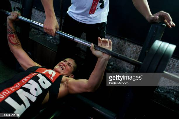 Brazilian UFC flyweight fighter Priscila 'Pedrita' Cachoeira trains at gym on December 29 2017 in Rio de Janeiro Brazil The trajectory of the carioca...