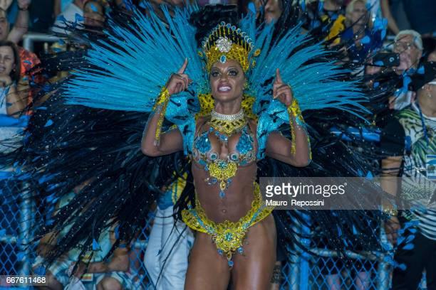 Brazilian woman wearing costume during 2017 Carnival at the Sambodromo (Sambadrome), Rio de Janeiro, Brazil.