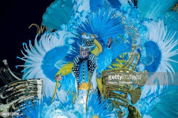 A brazilian woman wearing costumes standing on a float parade during 2017 Carnival at the Sambodromo (Sambadrome), Rio de Janeiro, Brazil.