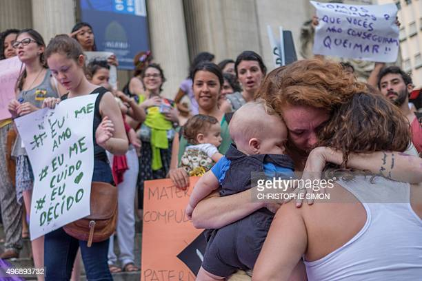 Brazilian women demonstrate in favor of abort legalization and against the president of the Brazilian Chamber of Deputies Eduardo Cunha in Rio de...