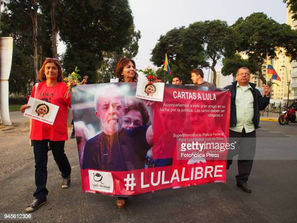 Brazilian women holding a 'Free Lula' banner took to the streets when thousands of Latin American left wing activists conducted an antiimperialist...