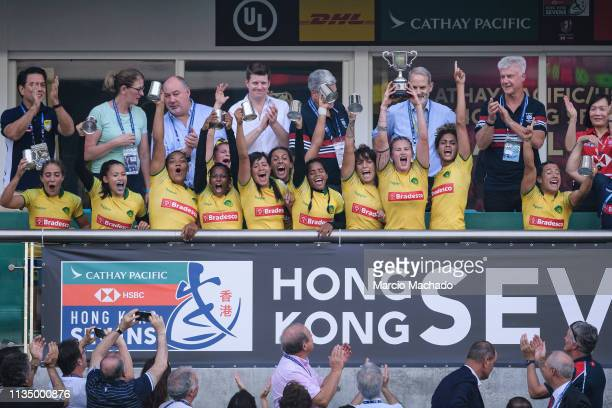 Brazilian Womens Rugby Team celebrating after winning Scotland on day one of the Cathay Pacific/HSBC Hong Kong Sevens Women's Final match between...