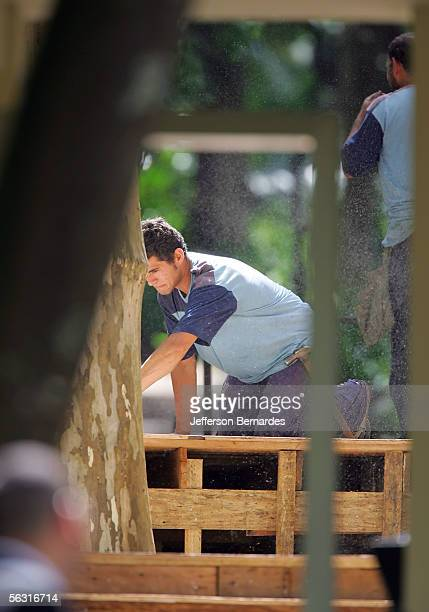 Brazilian workers do final constructions inside the grounds of the Maria Luisa and Oscar Americano Foundation for the wedding of Greek heiress Athina...