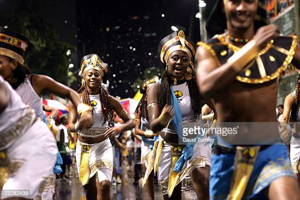 Brazilians dance through the streets during Carnival on February 9 2005 in Salvador Brazil Centuries of slave trade with Central and West Africa has...
