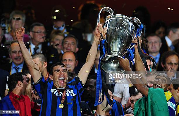 Brazilians Lucio and Maicon of Inter Milan celebrate winning the UEFA Champions League Final between Bayern Munich and Inter Milan at the Estadio...