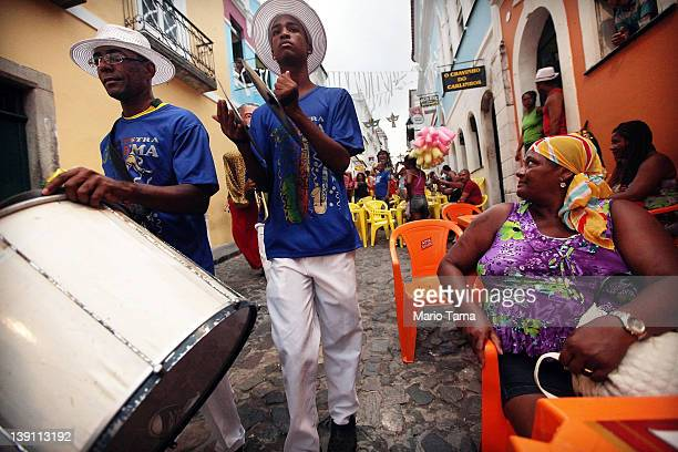 Brazilians march on the first day of Carnival celebrations on February 16 2012 in Salvador Brazil Carnival is the grandest holiday in Brazil annually...