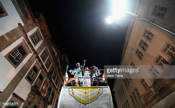 Brazilians perform atop a truck on the first day of Carnival celebrations on February 16 2012 in Salvador Brazil Carnival is the grandest holiday in...