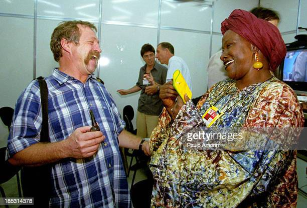 CONTENT] BrazilPorto Alegre French Green Party 'Europe Ecologie Les Verts' European MP Jose Bove smile with Aminata Traoré from Africa on Febraury...