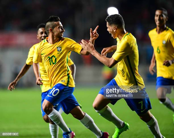 Brazil´s Alan celebrates his goal against Chile during their South American U17 football tournament match in Rancagua Chile on March 19 2017 / AFP...