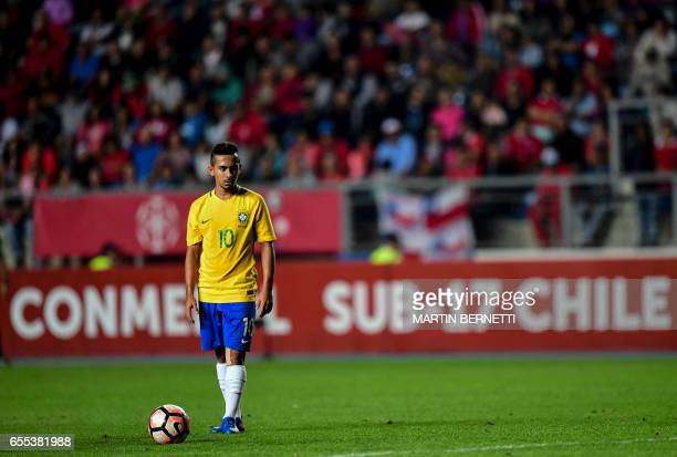 Brazil´s Alan prepares to score against Chile during their South American U17 football tournament match in Rancagua Chile on March 19 2017 / AFP...