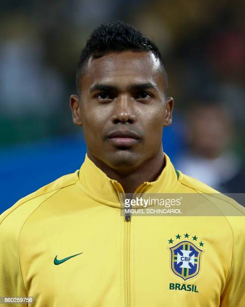 Brazil's Alex Sandro poses before the FIFA 2018 World Cup qualifier football match against Chile in Sao Paulo Brazil on October 10 2017