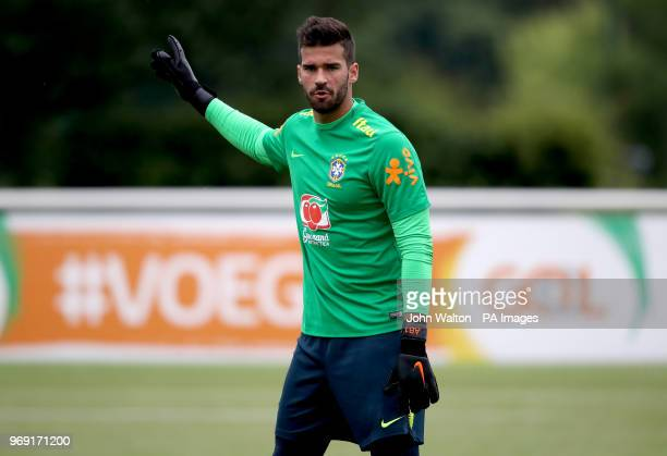 Brazil's Allison Becker during the training session at Enfield Training Ground London