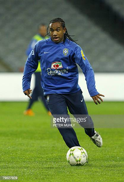 Brazil's Anderson Luis de Abrea Oliveira trains on February 23 2008 during a training session ahead of a International match against the Republic of...