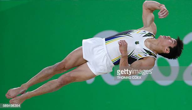 Brazil's Arthur Mariano competes in the men's floor event final of the Artistic Gymnastics at the Olympic Arena during the Rio 2016 Olympic Games in...