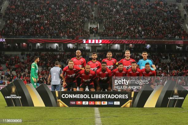 Brazil's Athletico Paranaense players pose for the official oficial photo during the 2019 Copa Libertadores football match between Brazil's Athletico...