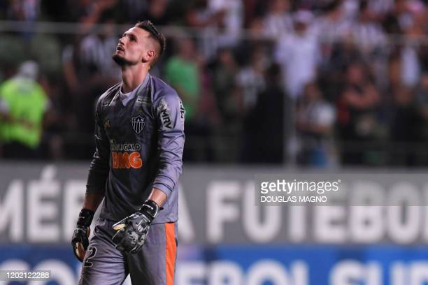 Brazil's Atletico Mineiro goalkeeper Michael reacts at the end of their Copa Sudamericana football match against Argentina's Santa Fe, at Raimundo...