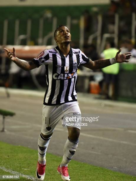 Brazil's Atletico Mineiro player Romulo Otero celebrates after scoring against Bolivia's Sport Boys during their Copa Libertadores football match at...