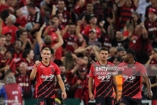Brazil's Atletico Paranaense Marco Ruben celebrates after scoring agaisnt Argentina's Boca Juniors during the 2019 Libertadores Cup football match at...