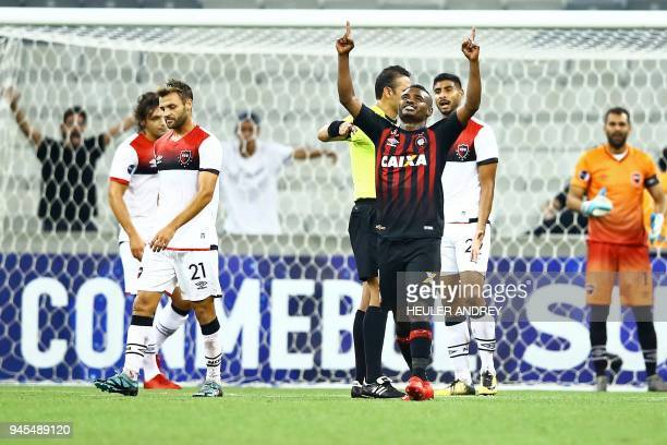 Brazil's Atletico Paranaense player Nikao celebrates after scoring against Argentinas Newell's Old Boys during their Copa Sudamericana first stage...
